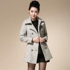 ALICAI2013秋冬新款女装妮呢子修身双排扣羊毛翻领毛呢外套大衣  包邮