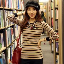 2014秋季新款修身女装条纹百搭女士T恤 打底衫  时尚潮流  包邮
