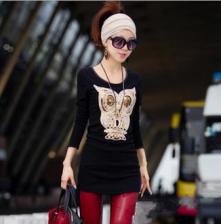 新款 立体猫头鹰图案 黑色显瘦中长款打底衫4个色T恤 包邮