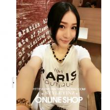 2014 韩国百搭大字母圆领短袖T恤(白 黑) 8046 包邮