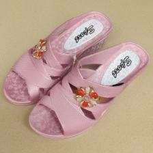 新款夏季女拖鞋家居室内外厚底坡跟拖鞋防滑耐穿女凉拖 妈妈拖鞋